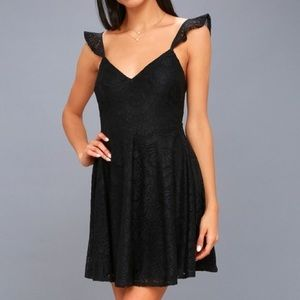 Lulus Absolutely Adorable Black Lace Skater Dress